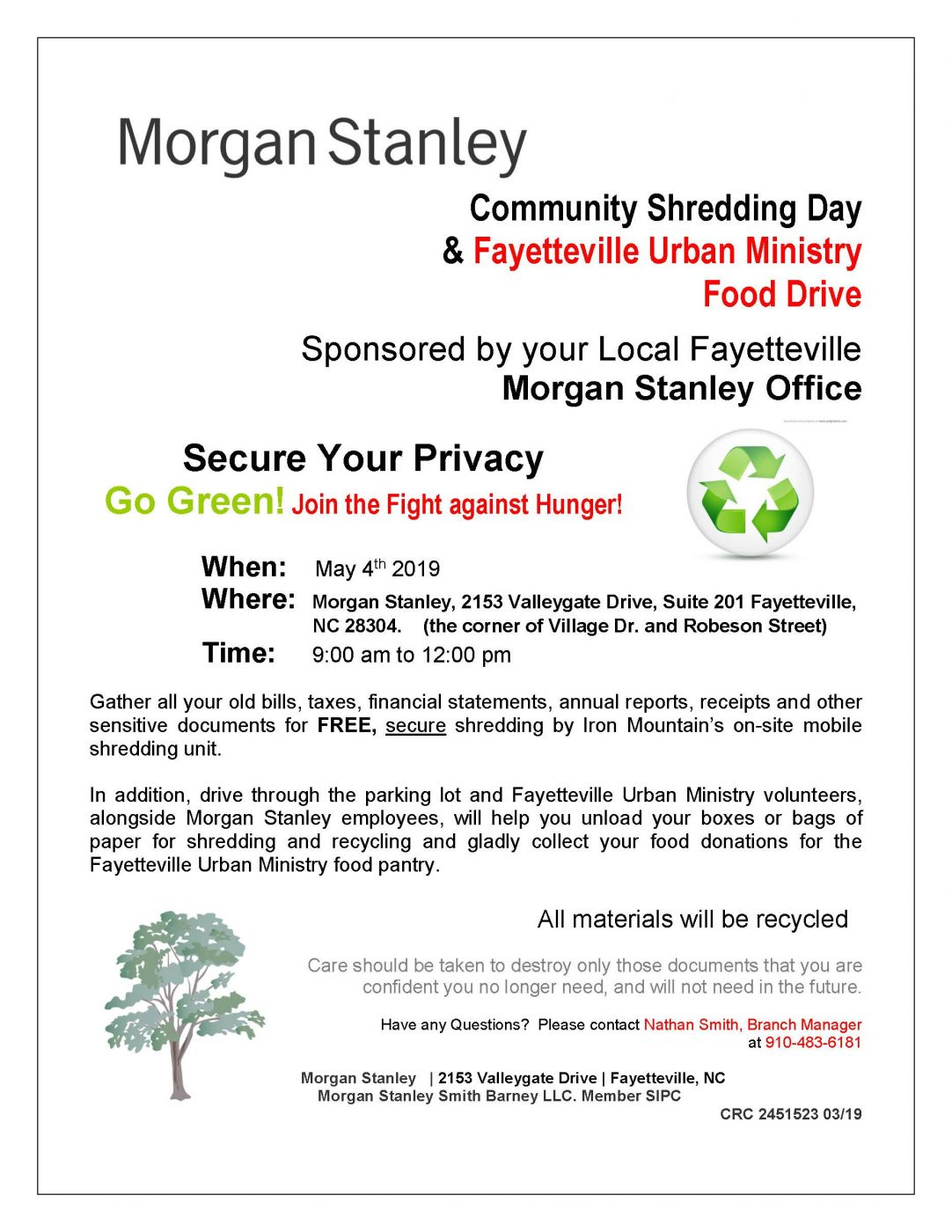 Morgan Stanley Community Shredding Day & Fayetteville Urban Ministry